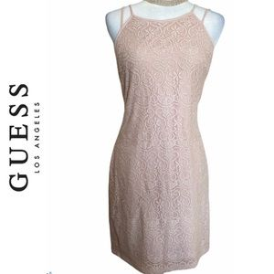 Guess Los Angeles Blush Pink Lace Bodycon Dress